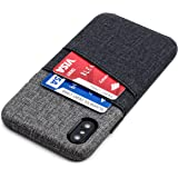Dockem Luxe Wallet Case for iPhone X - Minimalist Card Case with UltraGrip Twill Canvas Style Synthetic Leather, Slim Professional Executive Snap On Cover with 2 Card Holder Slots [Black and Grey]