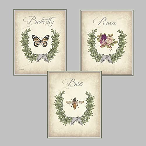 Etonnant Garden Botanical Print Set Of Three, French Country Bathroom Decor Butterfly  Art Bee Art Print