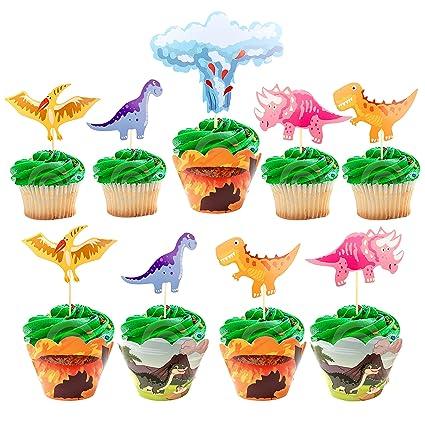 Feliz Cumpleaños Dinosaurio Cake Topper Feliz Cumpleaños Fiesta Verde Negro T-Rex
