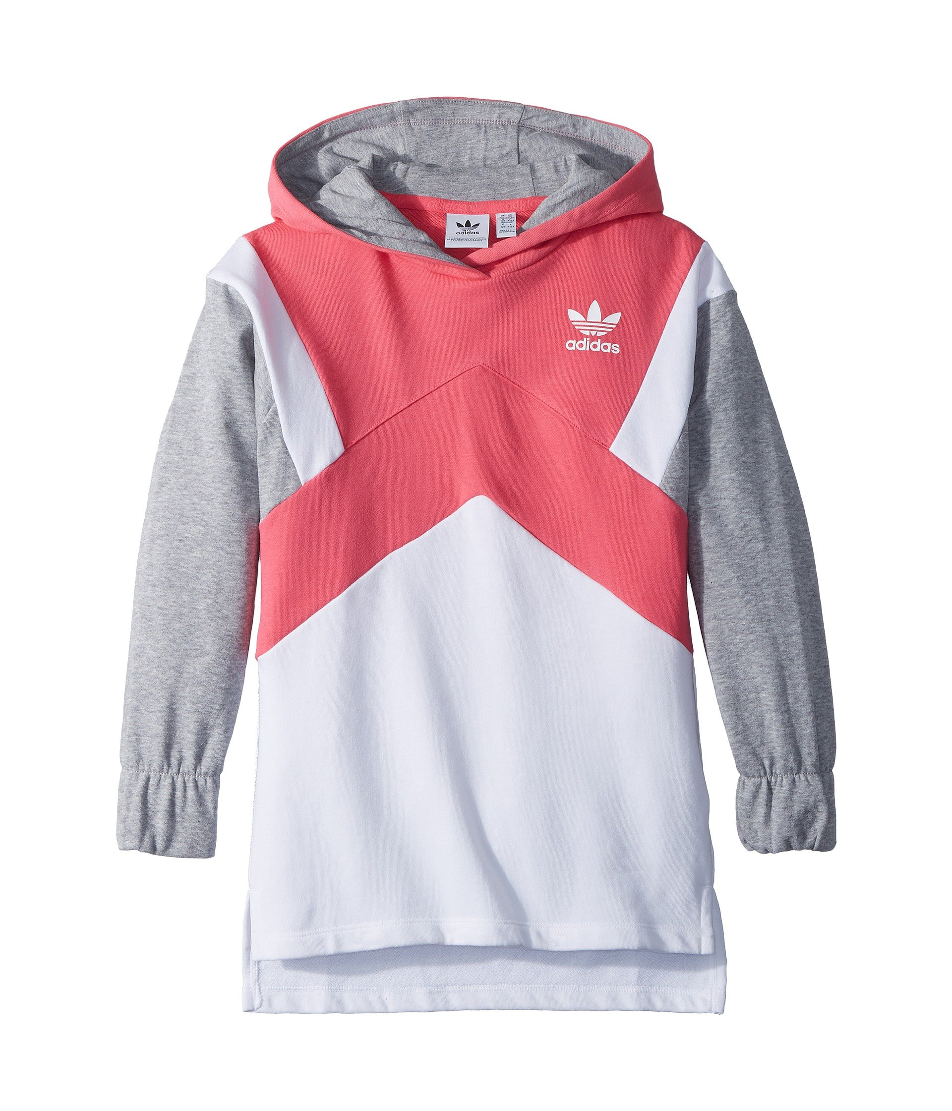 adidas Originals Kids Girl's Modern French Terry Hoodie (Little Kids/Big Kids) Real Pink/White/Medium Grey Heather Small
