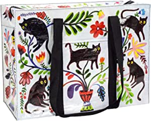 """Blue Q Shoulder Tote, Here Kitty. The carry-everywhere bag that features a hefty zipper, exterior pocket, wrap-around straps, reinforced floor, 95% recycled material, 11""""h x 15""""w x 6.25""""d."""