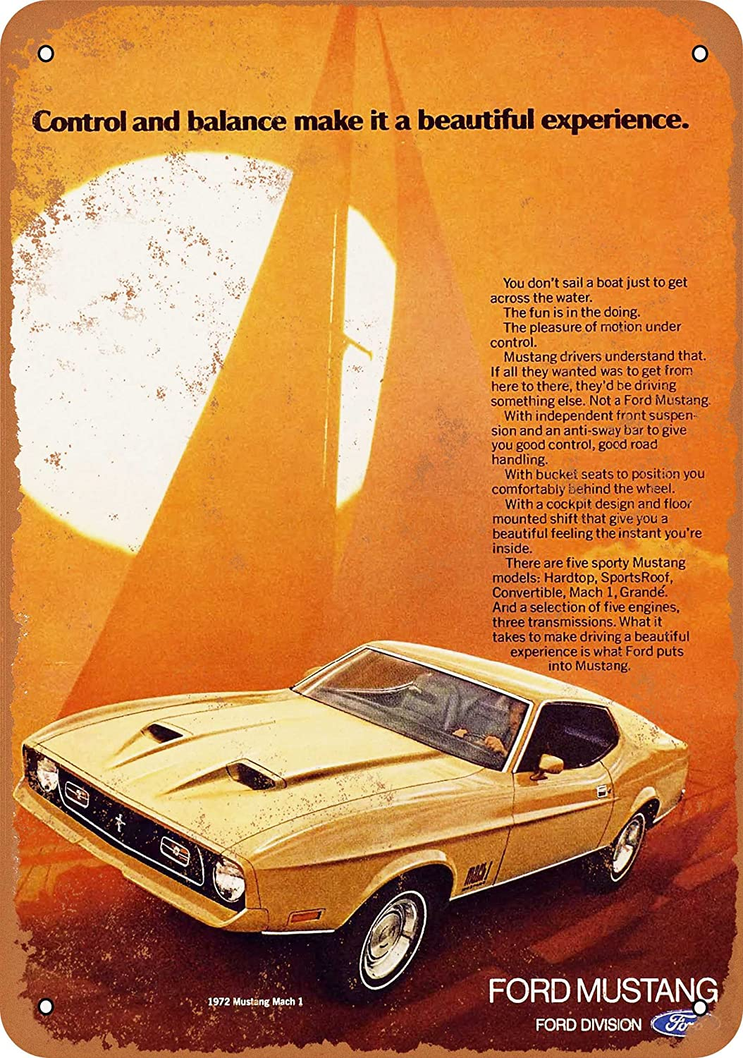 Amazon com wall color 9 x 12 metal sign 1972 ford mustang mach 1 vintage look home kitchen