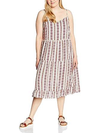 New Look Curves Womens Emeka Tiered Midi Sleeveless Dress, White (White Patterned),