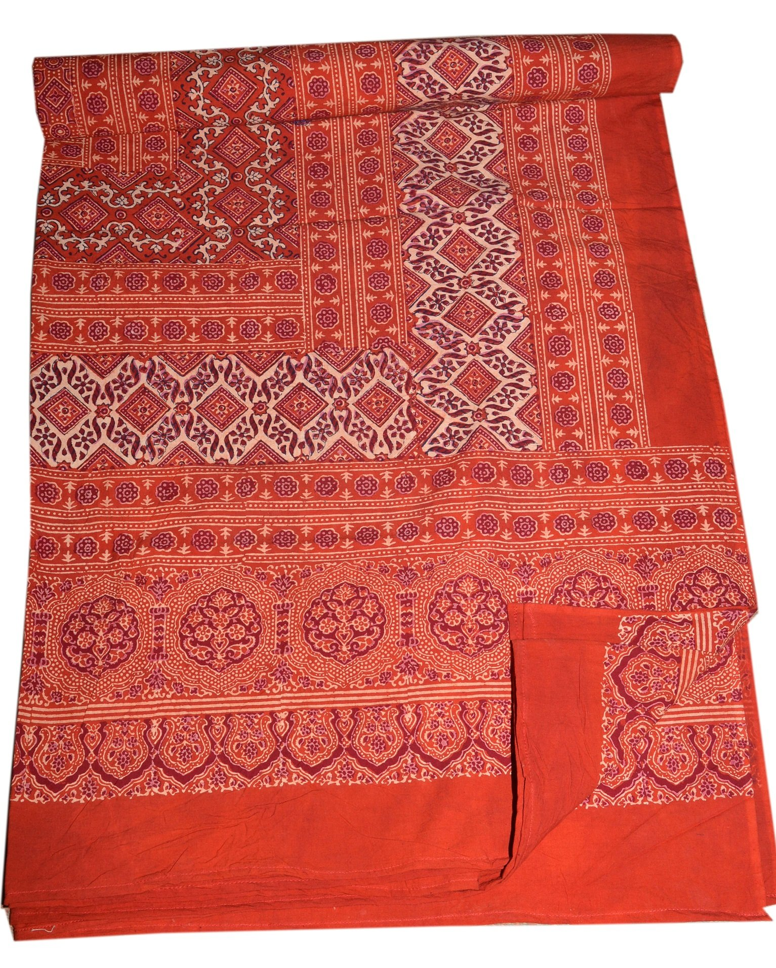 Tribal Asian Textiles Block Print Ajarak Tapestry Cotton India Bed Sheet Linens Couch Throw