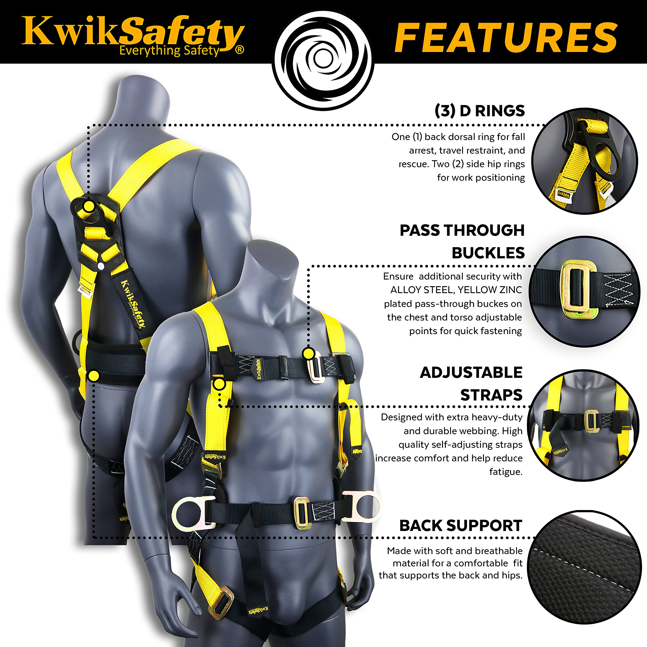 KwikSafety (Charlotte, NC) PYTHON (COMBO) Double Leg 6ft Tubular Stretch Safety Lanyard | OSHA ANSI Fall Protection EXTERNAL Shock Absorber | Construction Arborist Roofing | Snap Rebar Hook Connector by KwikSafety (Image #3)
