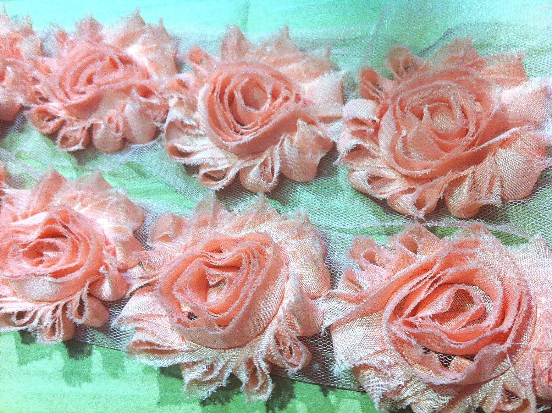 Flower Lace Trim Frayed Chiffon Rose Shabby Chic Bridal
