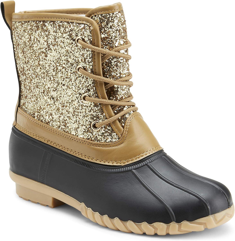Ladies Gold Glitter Duck Boot
