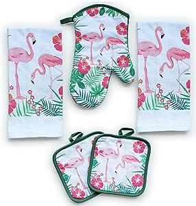 American Mills Kitchen Towel Set 5 Piece Towels Pot Holders Oven Mitt Decorative Flamingos
