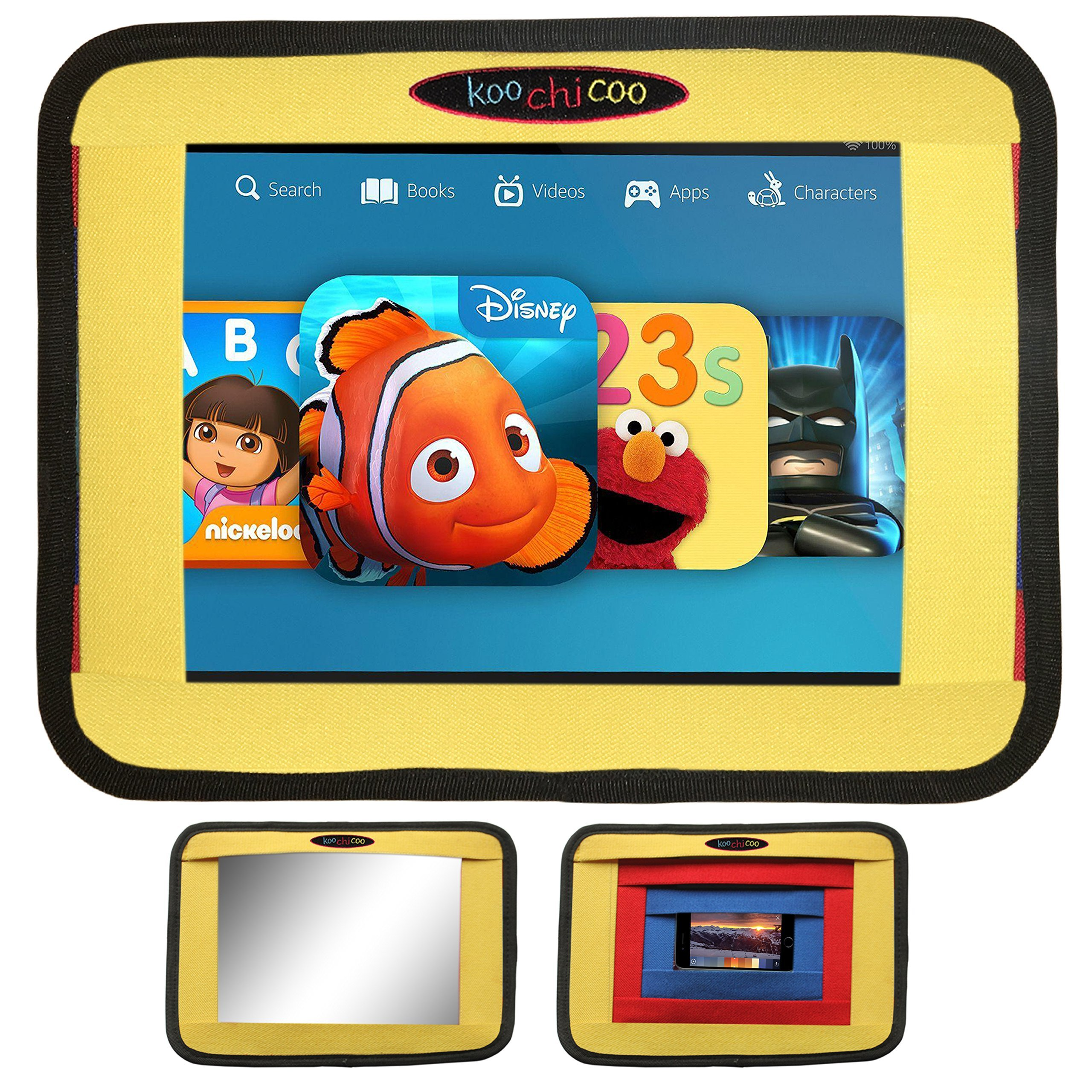 Koochicoo 3 in 1 Rear View Baby Car Mirror, Car Tablet Holder And Car Phone Holder For Kids, Available in 2 Colors * Headrest Mount * Phone Mount * Rear facing Back Seat Baby Mirror * car IPad Holder