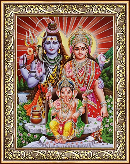 buy avercart lord shiva with parvati poster 5x7 inch framed with