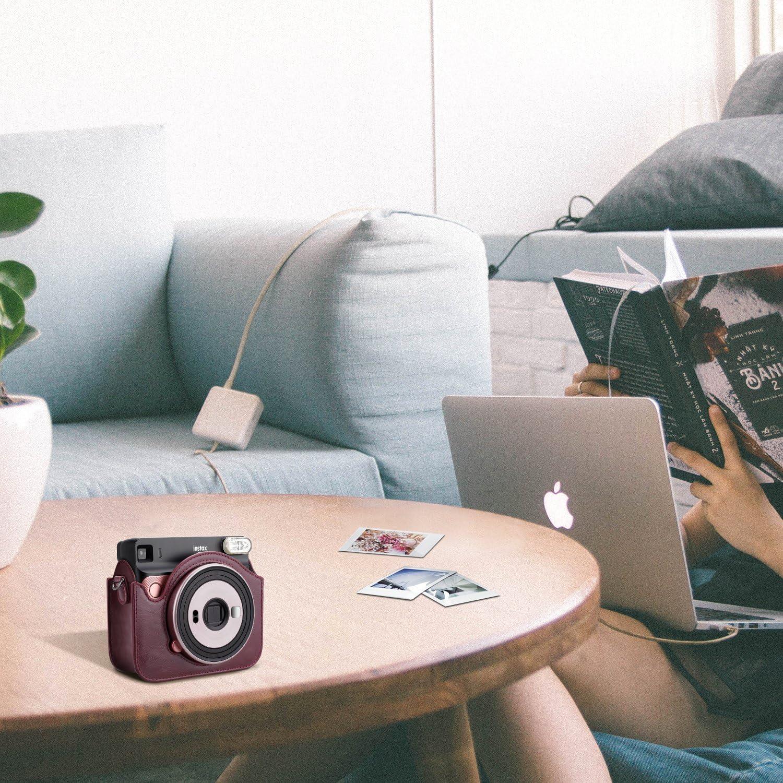 Premium Kunstleder Schutzh/ülle Reise Kameratasche H/ülle Abdeckung mit abnehmbaren Riemen Fintie Tasche f/ür Fujifilm Instax SQ 6 EX D Sofortbildkamera Helles Schwarz