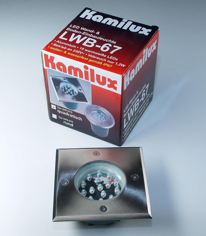 Warm-Weiß 1,2 Watt 230V LED Bodenstrahler Einbauspot LWB-67 Quadratisch