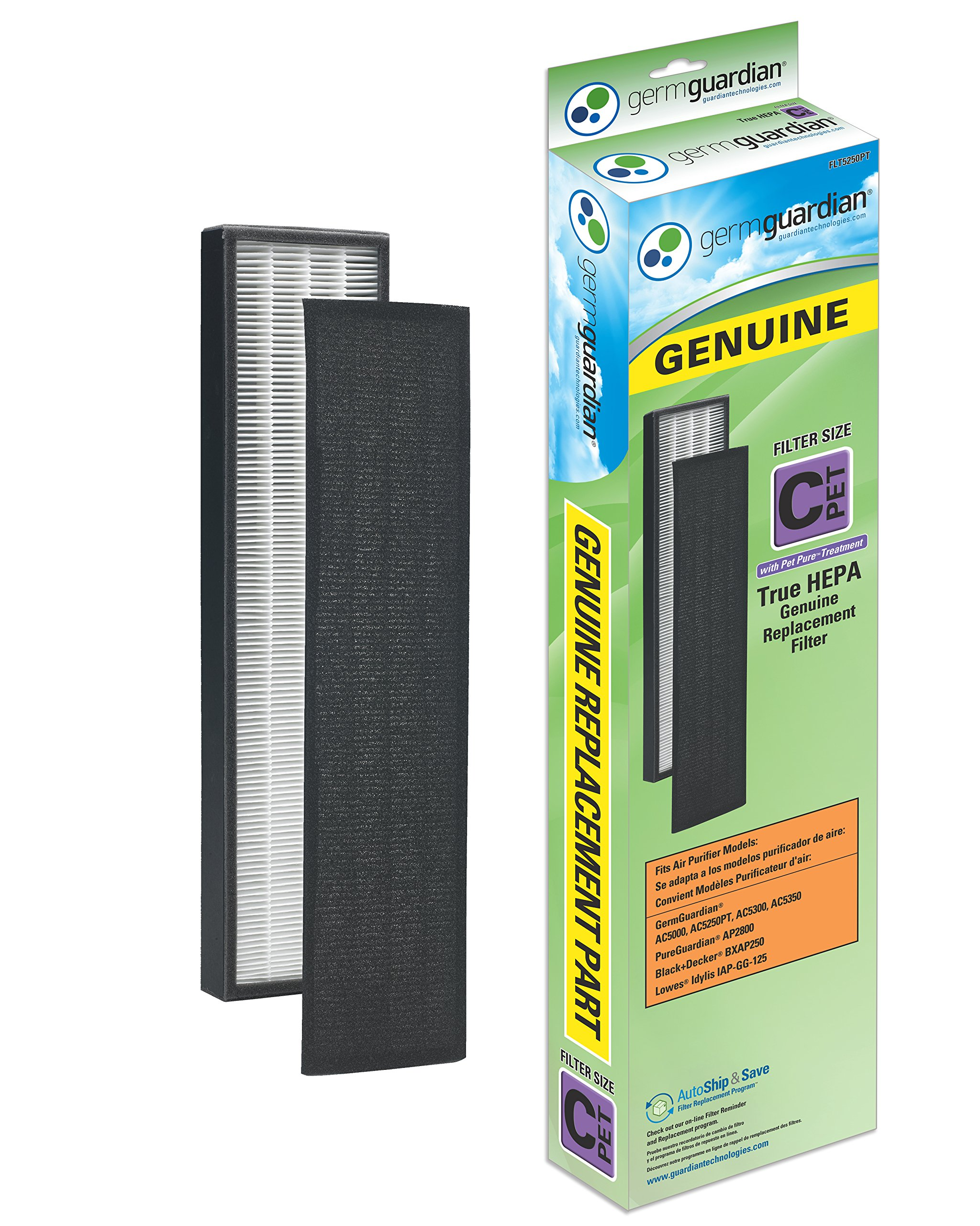 GermGuardian Air Purifier Filter FLT5250PT GENUINE HEPA Pet Pure Replacement Filter C Pet for AC5000, AC5000E, AC5250PT, AC5350B, AC5350BCA, AC5350W, AC5300B Germ Guardian Air Purifiers
