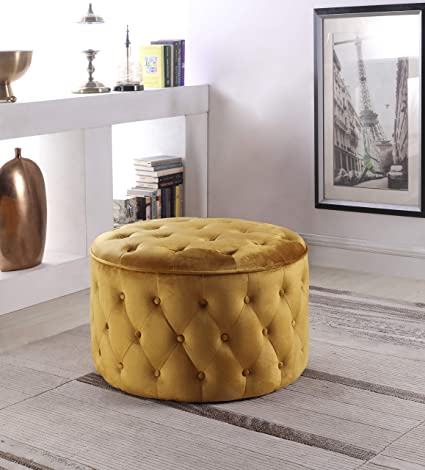 Wondrous Iconic Home Mahlah Ottoman Button Tufted Velvet Upholstered Round Pouf Modern Contemporary Cognac Machost Co Dining Chair Design Ideas Machostcouk