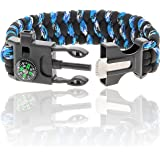 Paracord Survival Bracelet | With Compass, Whistle, Flint Fire Starter, and Knife Scraper | 550 military grade cord | Essential Tactical Gear for Outdoor Adventure and Your Emergency Kit