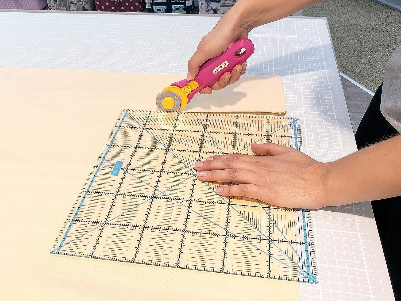 SEMPLIX Patchwork-Lineal Quilt-Lineal ideal f/ür Patchwork und zum Basteln pink 12,5 x 12,5 inch mit inch Skala und Winkelfunktionen transparent