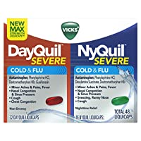 Vicks DayQuil and NyQuil SEVERE Cough, Cold and Flu Relief, 48 LiquiCaps (32 DayQuil...