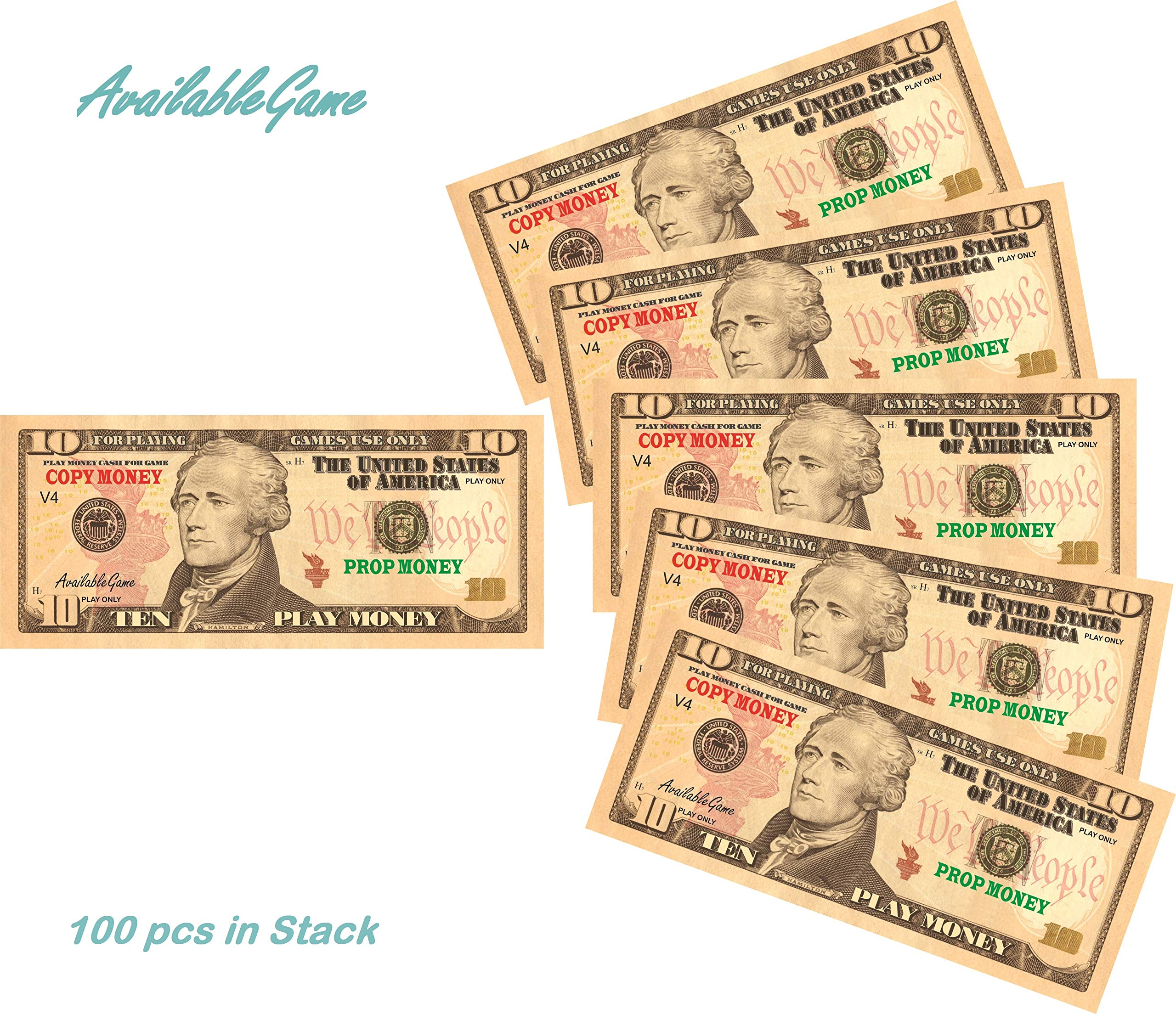 AvailableGame 10 Dollars Play Money for Games, Pranks, Monopoly Prop Paper Copy Money Double-Sided Printing 100 pcs Total $1,000 Educational Ten Dollar Bills Copy Money Stack for Kids by AvailableGame