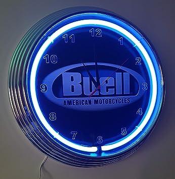 Neonuhr Buell Black Wanduhr Beleuchtet Mit Blauen Neon Ring