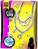 Kit de Creation de Colliers avec Breloques - Pink City - 10 Perles Argentees + 4 Breloques + Cordons