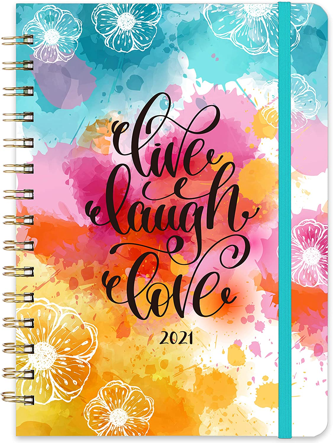 "2021 Planner - Weekly & Monthly Planner with Tabs, 6.3"" x 8.4"", Jan. - Dec. 2021, Hardcover with Back Pocket + Thick Paper + Banded, Twin-Wire Binding - Splash Ink"