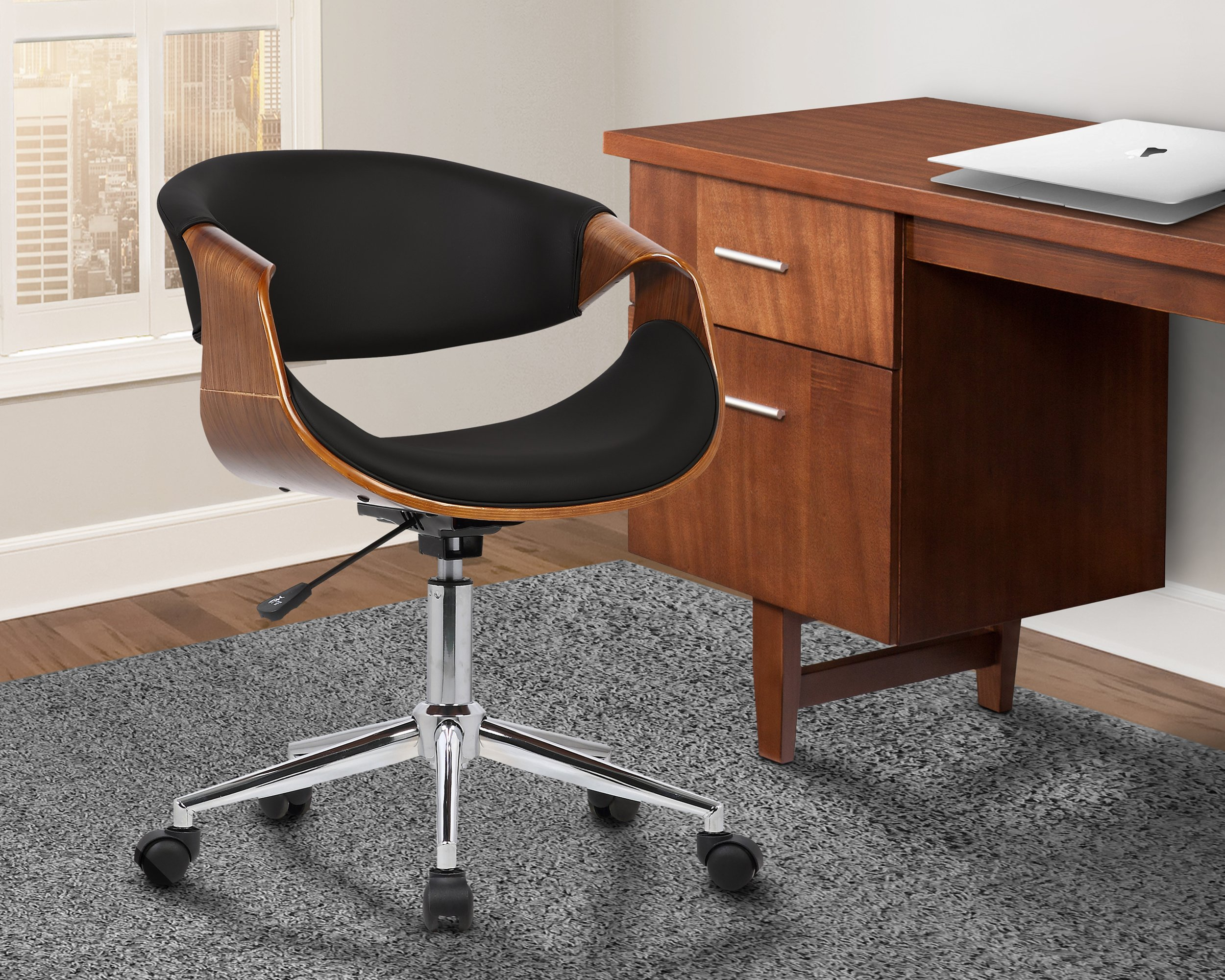 Armen Living LCGEOFCHBLACK Geneva Office Chair in Black Faux Leather and Chrome Finish