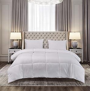 Blue Ridge Home Fashions Microfiber Down Alternative All Season Comforter-Hypoallergenic Polyester Fill, King, White