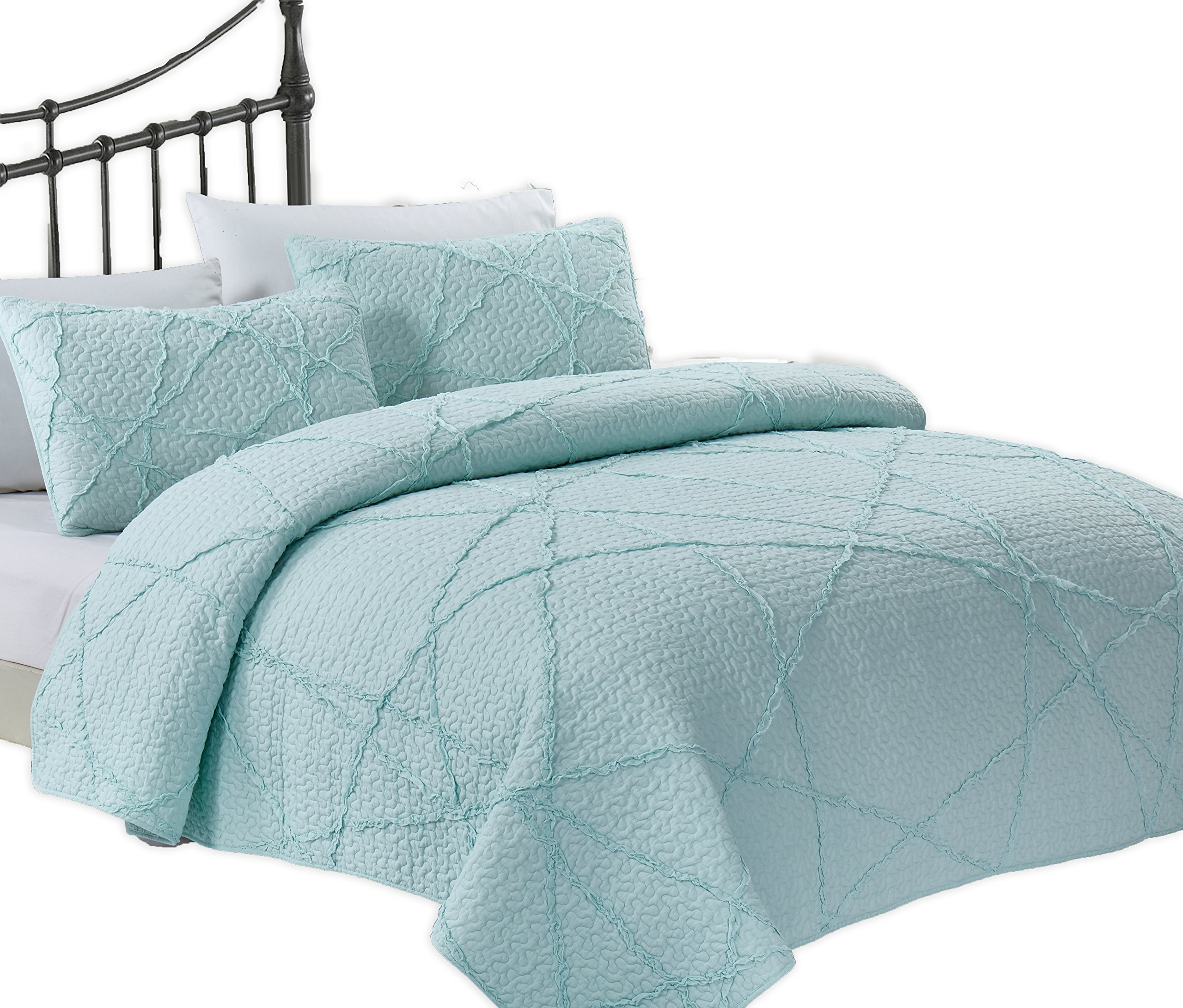 California Design Den Crazy Ruffled Breathable 100% Pure Cotton Luxury Quilt Sets, Full/Queen, Spa Blue, 3 Piece