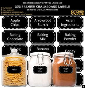 "252 Preprinted 3"" X 1.5"" Chalkboard Pantry Labels Set w/Extra Write-on Stickers for Jars, Bottles, Containers & Canisters - Include an Exclusive Numbered Reference sheet - Waterproof & Tear-Resistant"