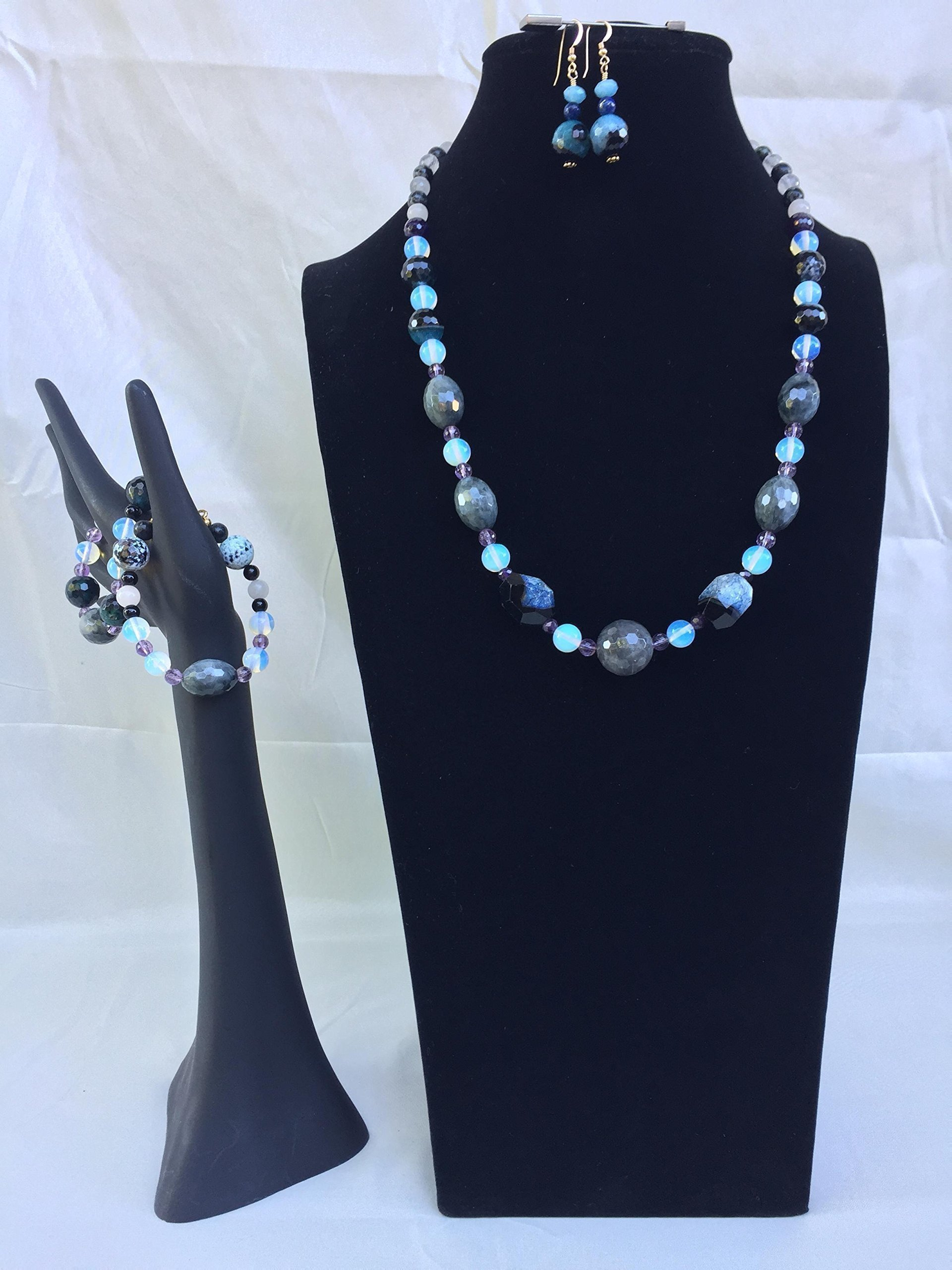 Gorgeous handmade gemstone jewelry set with a necklace, two braceles and matching dangle earrings. Mixed blue and black gemstones. One of a kind