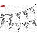 Paw Print Black and White Themed Bunting Banner 15 flags for simply stylish party decoration by PARTY DECOR