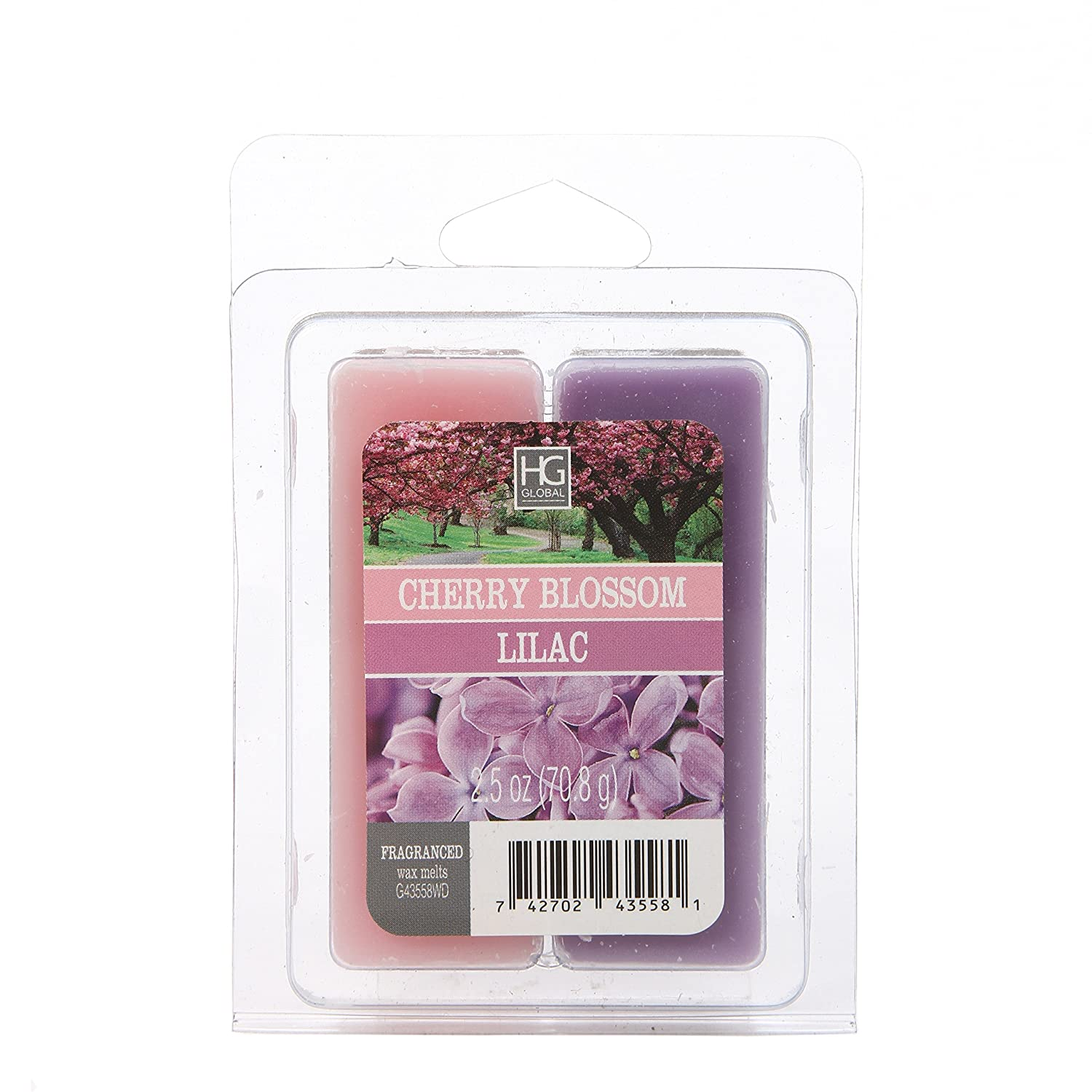Hosley's Dual Pack Lilac/Japanese Cherry Blossoms Wax Cubes- 2.5 oz. Hand Poured Wax Infused with Essential Oils. Ideal for Weddings, Spa, Reiki, Meditation Settings W1