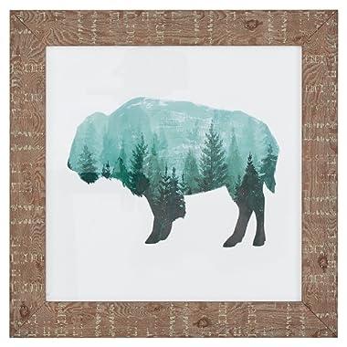 Rivet Modern Rustic Buffalo Bison Silhouette Print Wall Art Décor - 15  x 15  Frame, Wood Grain