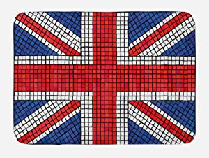 Ambesonne Union Jack Bath Mat, Mosaic Tiles Inspired Design British Flag National Identity Culture, Plush Bathroom Decor Mat with Non Slip Backing, 29.5