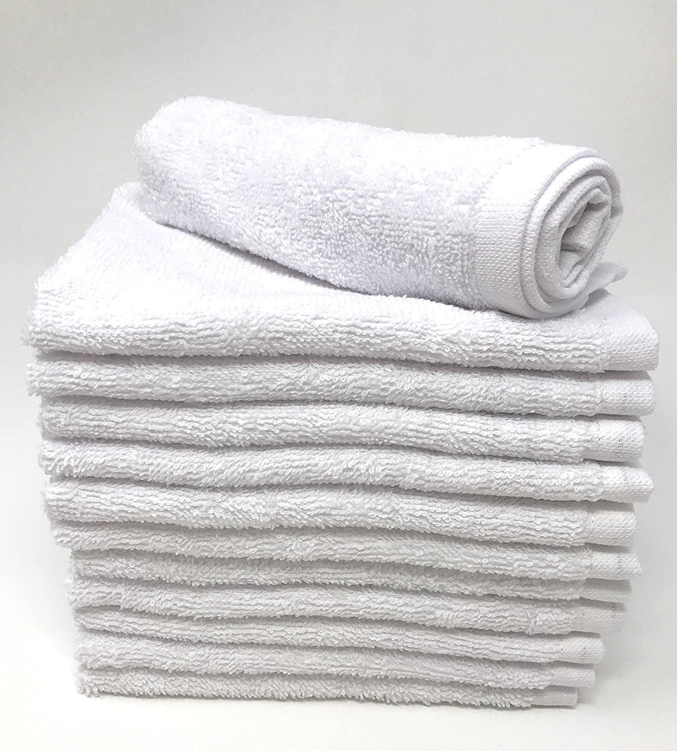 Goza Towels Luxury Cotton Wash Cloths (12 Pack) Easy Care, Fingertip Towels, Facial Towelettes, Cotton Hand Towels (White, 12x12)