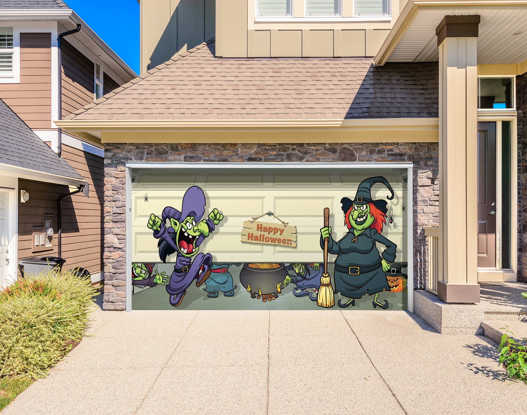 Outdoor Halloween Holiday Garage Door Banner Cover Mural Décoration 8'x16' - Halloween Witch Escape - Outdoor Halloween Holiday Garage Door Banner Décor Sign 8'x16' by Victory Corps