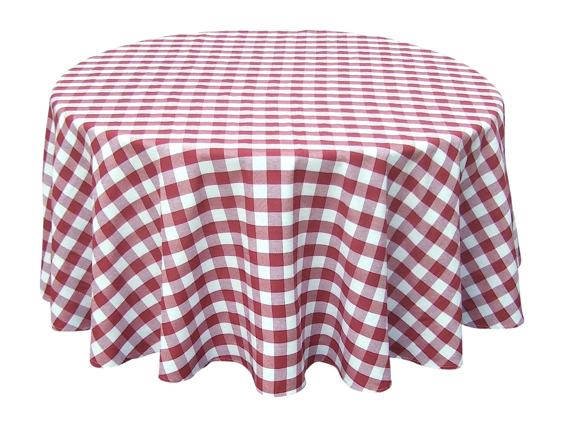 Wine Red White Tablecloths: Gingham Checkered Design (58'' x 84'' Rectangle)