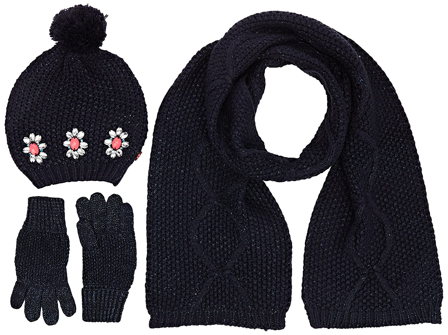 Billieblush Girl's U18052 Pull On Hat Gloves and Scarf Blue (Navy) 12 Years (Size:T3) U18052/849T3