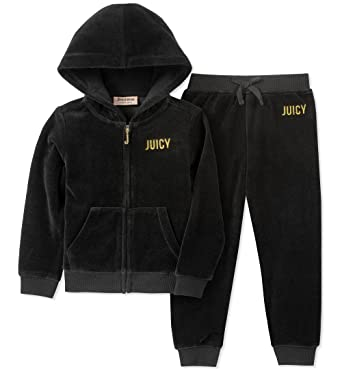 9f8de377a Amazon.com  Juicy Couture Girls  2 Pieces Jog Set-Velour  Clothing