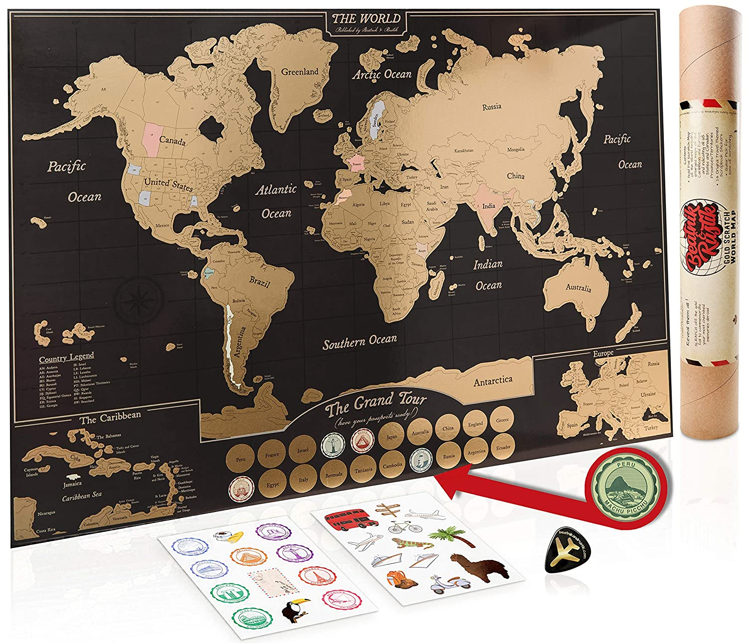 Gold Scratch Off World Map Poster - with US States & Canadian Provinces. A Travel Journal for your Wall! 24 Scrapbook Stickers & Bucket List. Fun Gifts for Graduation or Teachers. World Traveller Decor by Beatnik & Rustic Beatnik & Rustik
