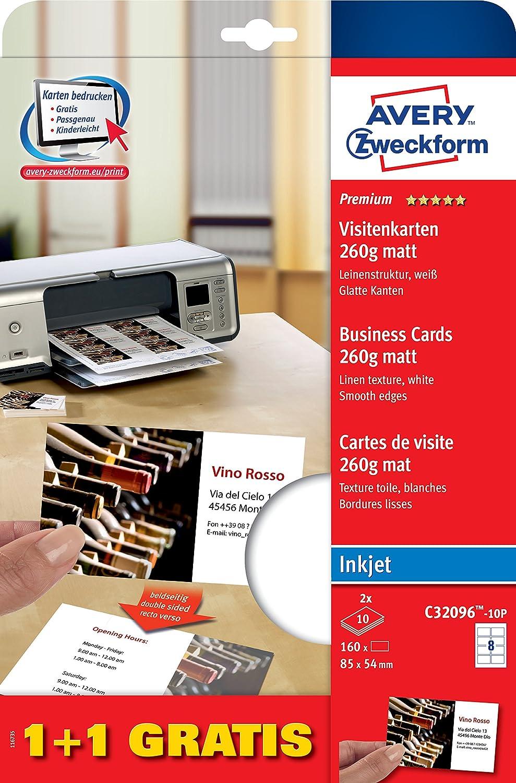 Avery Zweckform C32096-10P Premium Visitenkarten, Leinenstruktur, 260 g, 85 x 54 mm, 20 Blatt, 160 Stück, weiß 160 Stück weiß