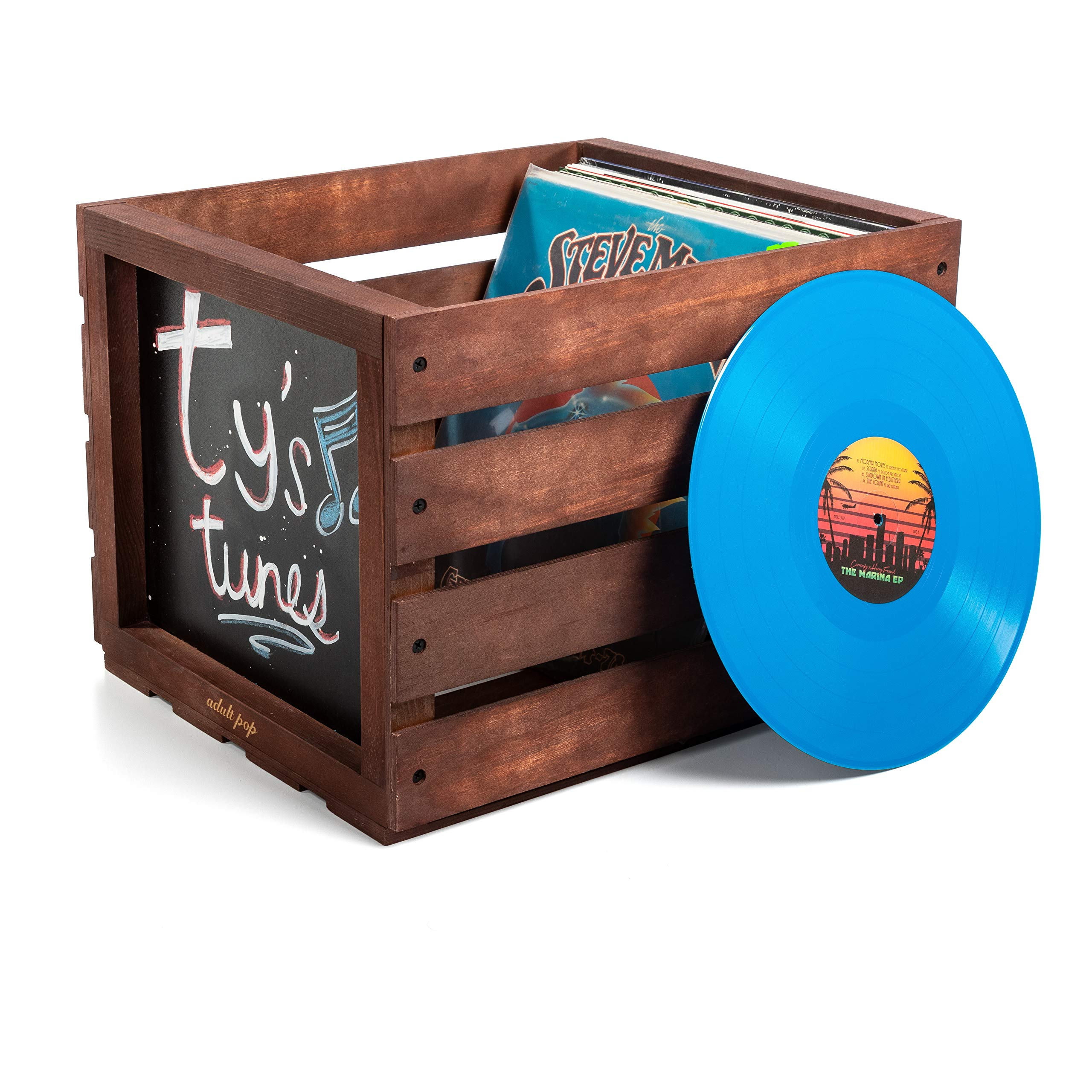 Chalkboard Vinyl Record Storage Crate (Espresso) by Adult Pop