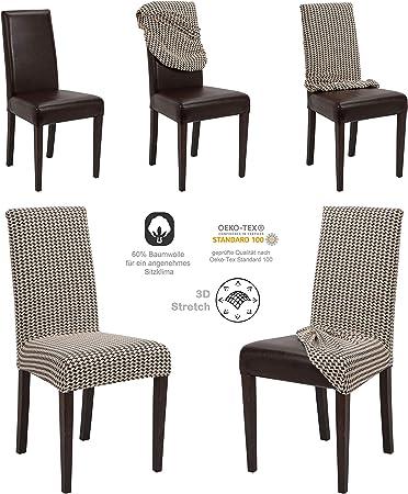 Onesize Stretch Taupe Beautex Lot de 4 Housses de Chaise en Jersey Stretch /élastique en Coton Bi-Elastic Coton Couleur au Choix