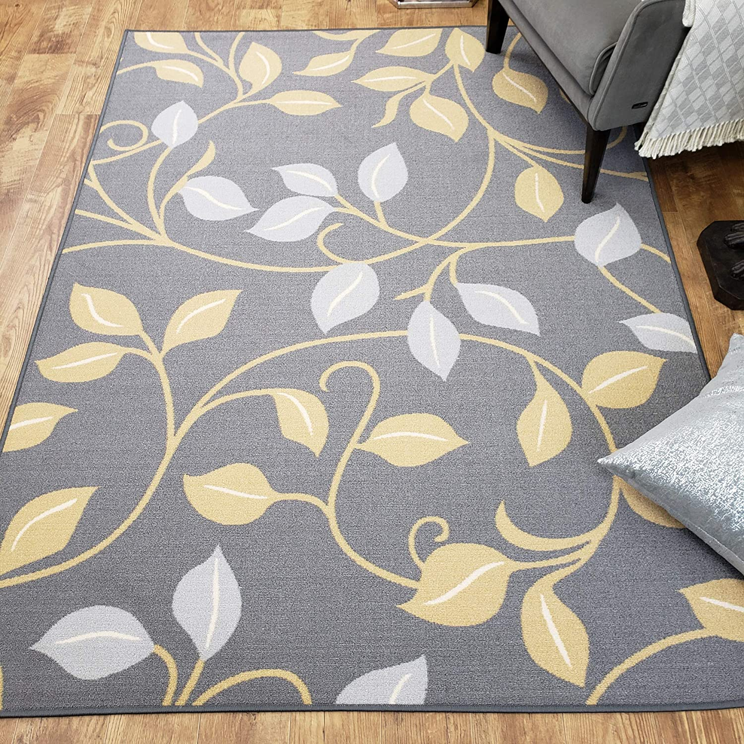 Area Rug 3x5 Gray Floral Kitchen Rugs and mats | Rubber Backed Non Skid Rug Living Room Bathroom Nursery Home Decor Under Door Entryway Floor Non Slip Washable | Made in Europe