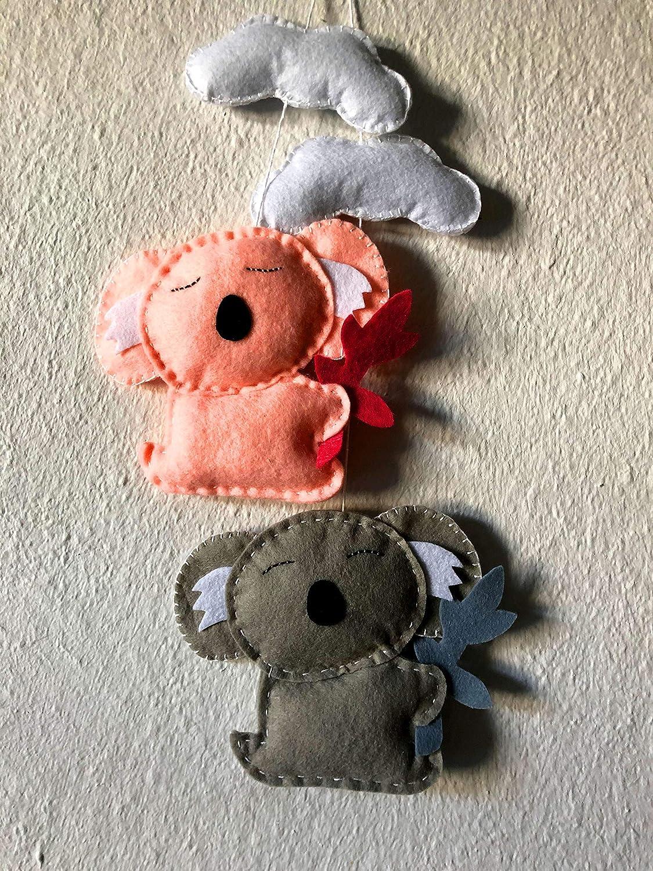 Koala and Cloud Ornament Australian Animals Hanging Baby Gym Toys Felt Nursery Decor Crib Animal Activity Play Baby Mobile stuffed animals
