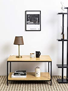 Rustic Rectangle Coffee Table with Storage Shelf, Industrial Accent Furniture for Living Room, Oak Color