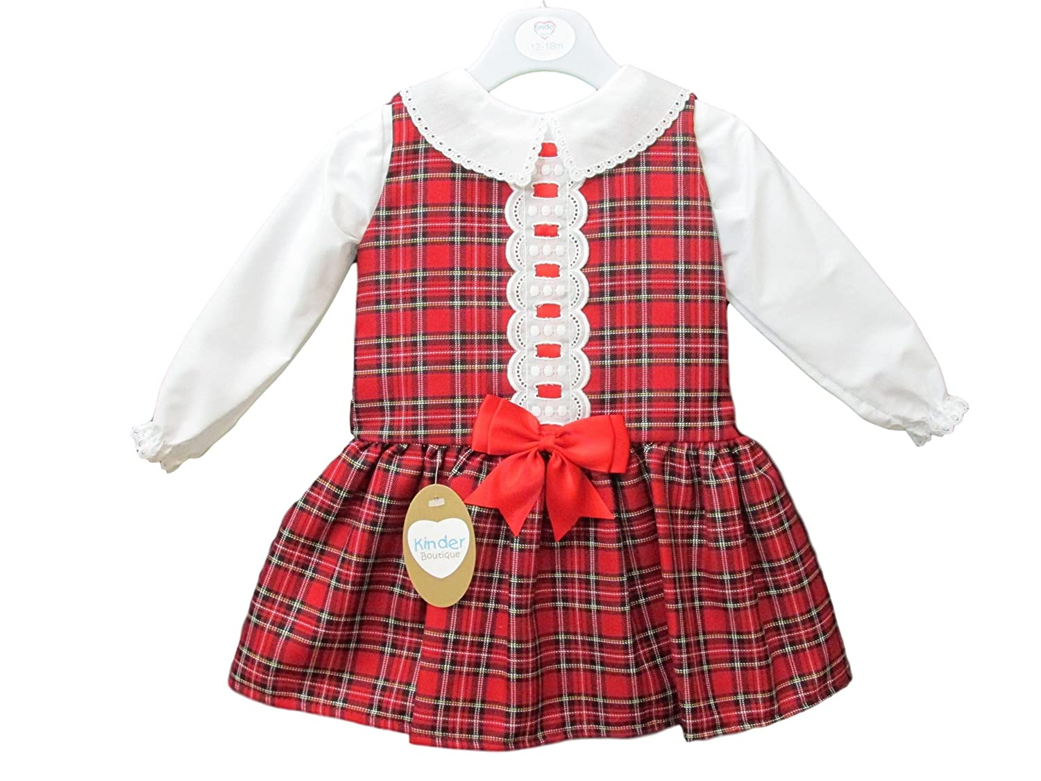 ece2d4a38 Girls Red Tartan Bow Dress And Blouse Set (18 24 Months)  Amazon.co ...