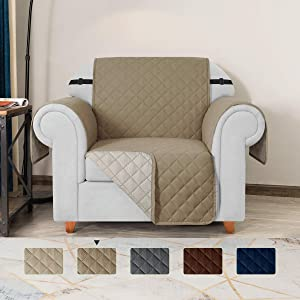 TOYABR Small Sofa Cover Reversible Couch Cover with Elastic Adjustable Strap Furniture Protector Fitted Seat Width Up to 23 Inch Sofa Slipcover Great for Home with Pets and Kids (Chair,Khaki)