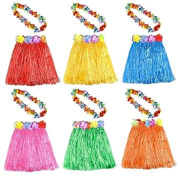 KUUQA 6 Set 12 PCS Hula Hawaiana Falda de Hula con Collar de Flores Leis Hawaii Luau Faldas Collar Traje de Disfraces para niños Mujeres Luau Fiesta ...