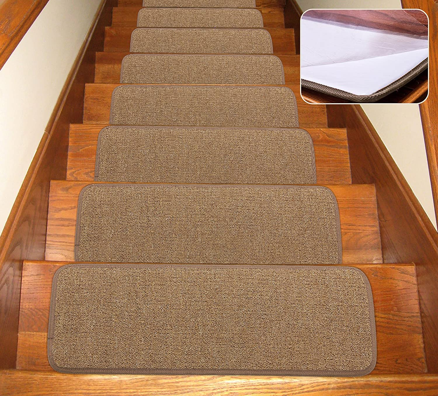 Removable Floor Rugs for Stairs Seloom Non-Slip Stair Treads Carpet with Skid Resistant Rubber Backing Specialized for Indoor Wooden Steps Black 13 Pieces,25.5/×9.5In